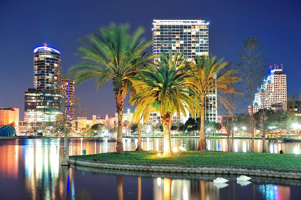 Orlando Florida Skyline. Top Hotels Orlando Florida