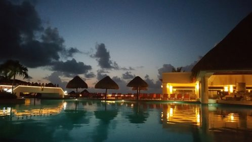 Cancun Mexico poolside at dusk